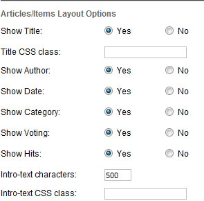 joomla 3 articles items options