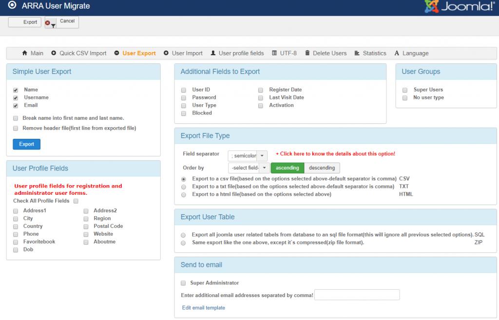 joomla user export