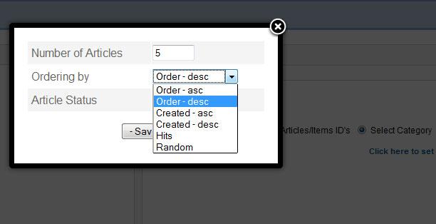 joomla categories option
