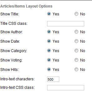 joomla 3 articles items options